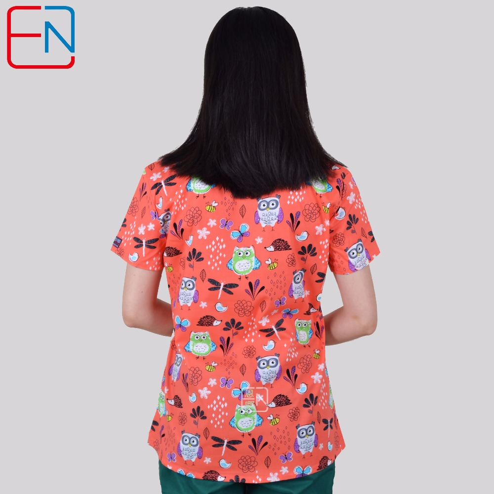Image 3 - Brand medical scrub tops for women surgical scrubs,scrub uniform in 100% print cotton Chengse maotouyingScrub Tops & Bottoms   -