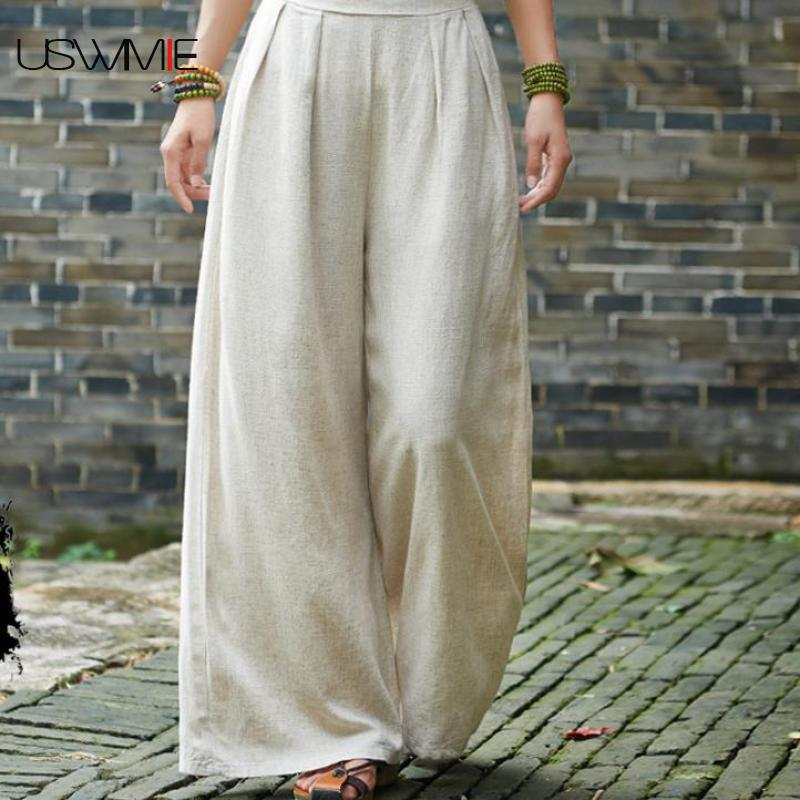 2018 Wide Leg Pants Simple Joker Casual Comfort Solid Color Elastic Waist Breathable Retro Home Travel Washing Trousers USWMIE