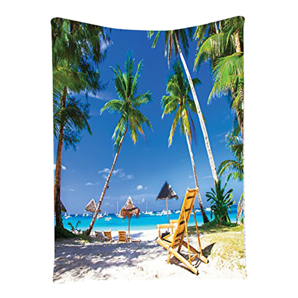 Seaside Decor Collection, Sunbed under Palm Trees Tropical Oceanside in Boracay Island P ...