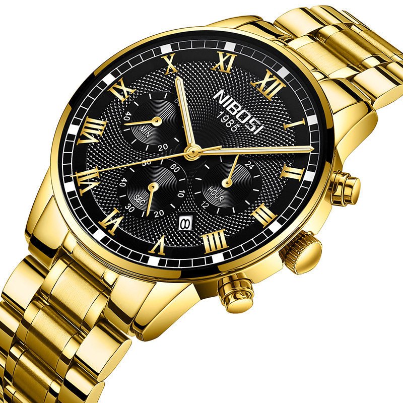 цена на NIBOSI Mens Fashion Analog Quartz Gold Watch Luxury Men Steel Band Chronograph Waterproof Watches Relogio Masculino