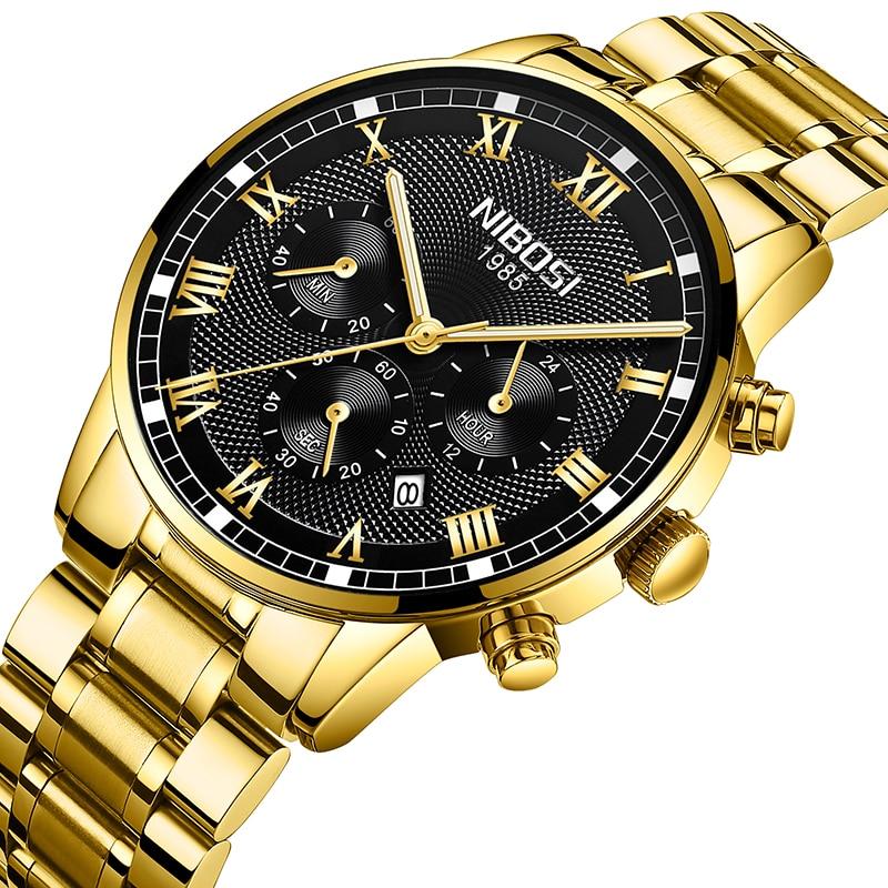 NIBOSI Mens Fashion Analog Quartz Gold Watch Luxury Men Steel Band Chronograph Waterproof Watches Relogio Masculino north sports luxury mens leather band analog quartz watches wrist watch colour gold