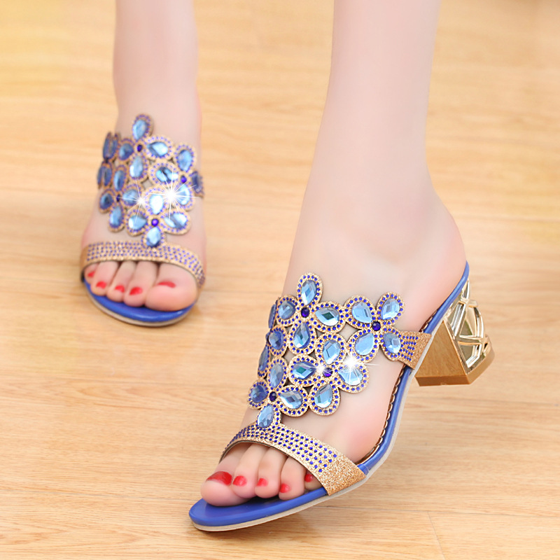 New 2018 high quality Fashion slip on adult sandals Wedges beautiful elegant women shoes bling hot sales shoes woman buckle slip on wedges