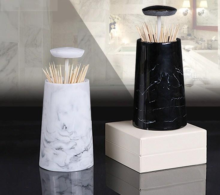 Европейская мода креативная мраморная текстура зубочистка коробка ручной давление коробка для хранения зубочисток настольная пепельница круглый ватный тампон коробка