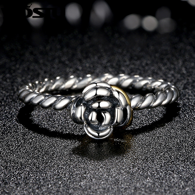 WOSTU Hot Sale Silver & Gold Color Flower Rings For Women Original Engagement Brand Ring Jewelry Present Gift For Lover SDP7207