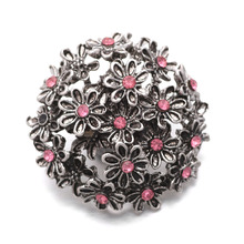 10Pcs/lot Wholesale 18mm Hot Sales Rhinestone Flower Buttons Snap fit DIY Xinnver Snap Bracelets Jewelry ZA268