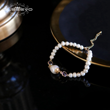 XlentAg Natural Fresh Water Pearl Handmade Adjustable Bracelet For Women Wedding Engagement Party Luxury Fine Jewelry GB0099