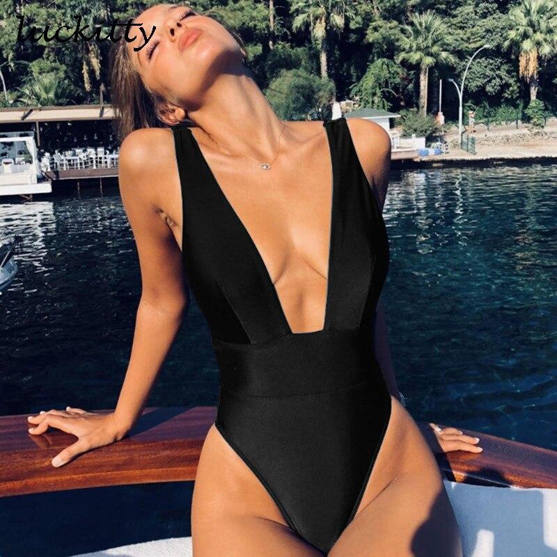 Сексуальный Бандаж цельный купальник женский сплошной купальник женский Монокини Глубокий V пляжная одежда сплошной купальник без спинки