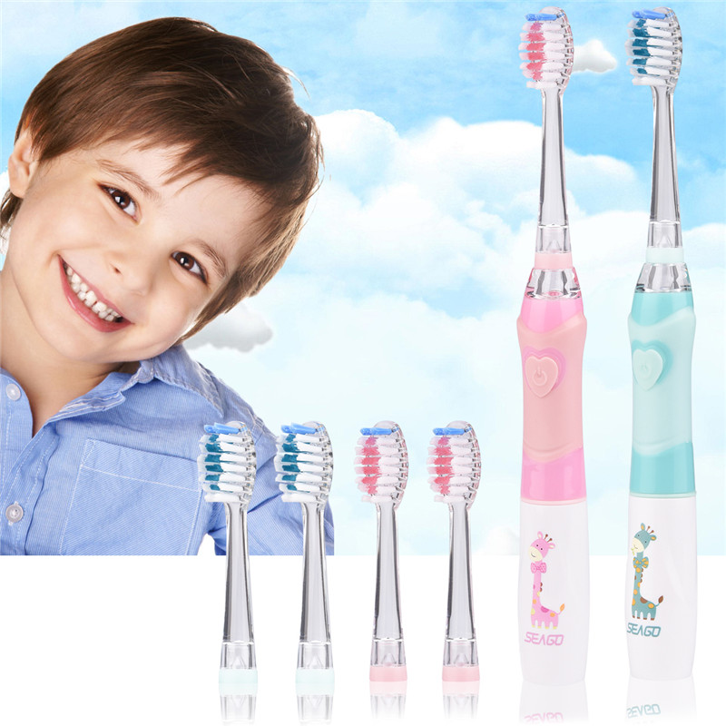 Delicious 2pcs Baby Kids Sonic Electric Toothbrush Colorful Led Light Waterproof Children Soft Bristle Tooth Brush+4replacement Brush Head To Adopt Advanced Technology Electric Toothbrushes & Replacement Heads