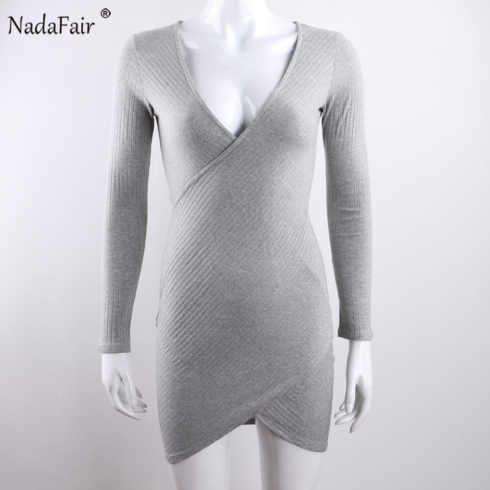 Nadafair V Neck Long Sleeve Criss Cross Cotton Knitted Autumn Women Dress Sexy Club Bodycon Bandage Party Dress Plus Size 3