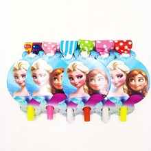 6pcs/bag Frozen Anna Elsa Girls Party Supplies Blowouts Kid Birthday Celebration Noise Gifts Cartoon Decoration Set