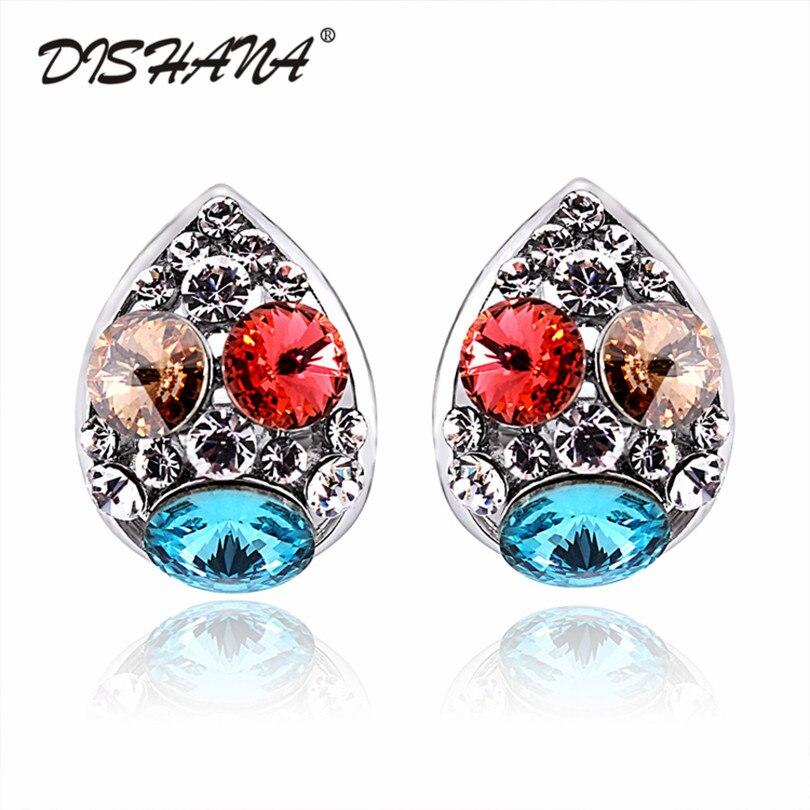 1671f68ec0ce Lujo colores de la mezcla oval Crystal Pendientes de clip para las mujeres  boda joyería vestido dccessory Bijou pendiente brincos (e0174)
