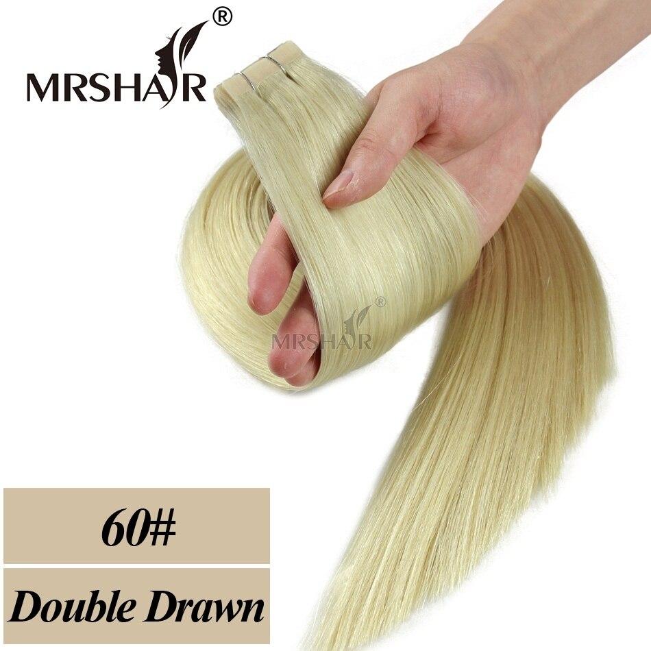MRSHAIR Double Bande Dessinée Dans Les Extensions De Cheveux Humains - Cheveux humains (blanc) - Photo 3