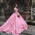 Saudi Arabia Princess Pink Wedding Dress 2017 Hand Made Flowers Tulle Ball Gown Puffy sweetheart backless bridal gown vestidos