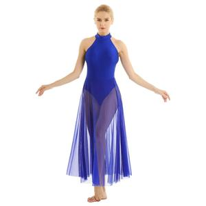 Image 4 - Women Adult Ballet Dance Dress Contemporary Modern Leotard Ballet Bodysuit with Mesh Skirt Mock Neck Ballet Leotards for Women