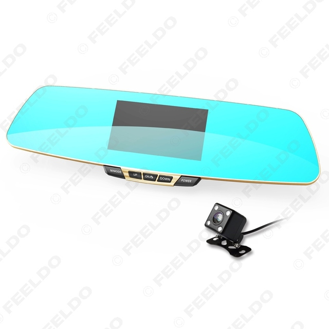 """Dual Lens Camera 5.0"""" LCD Support 32GB 1080P Full HD Car DVR Rearview Mirror Video Recorder With Night Vision #FD-4703"""
