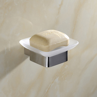 Durable Solid SUS 304 Stainless Steel Bathroom Soap Dish Holder With Glass Modern Smooth Mirror Square