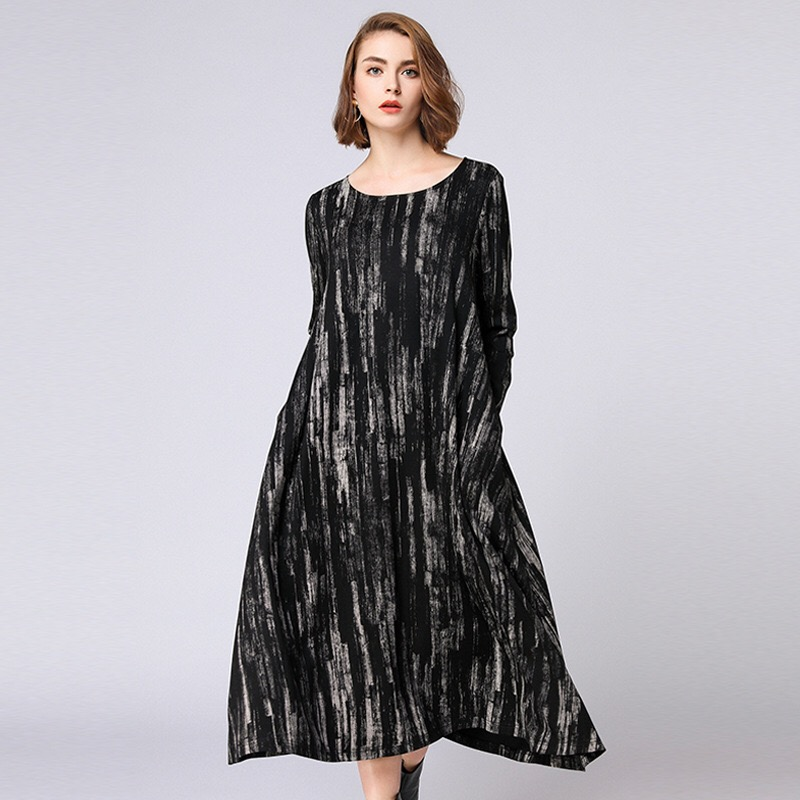 2018 Autumn Woman Dress Loose Maternity Dress Cotton Pregnant Clothes Striped Plus Size Dresses XL-4XL Striped Boat Neck Full daisy embroidered striped night dress
