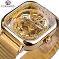 Forsining золотые мужские автоматические часы квадратный Скелет сетка стальной ремешок Механические деловые часы Relogio Masculino Erkek Kol Saati