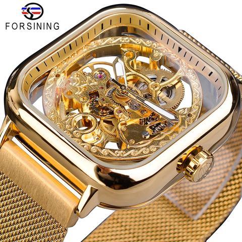 Banda de Aço Relógio de Negócios Forsining Ouro Masculino Relógio Automático Quadrado Esqueleto Malha Mecânica Erkek Kol Saati