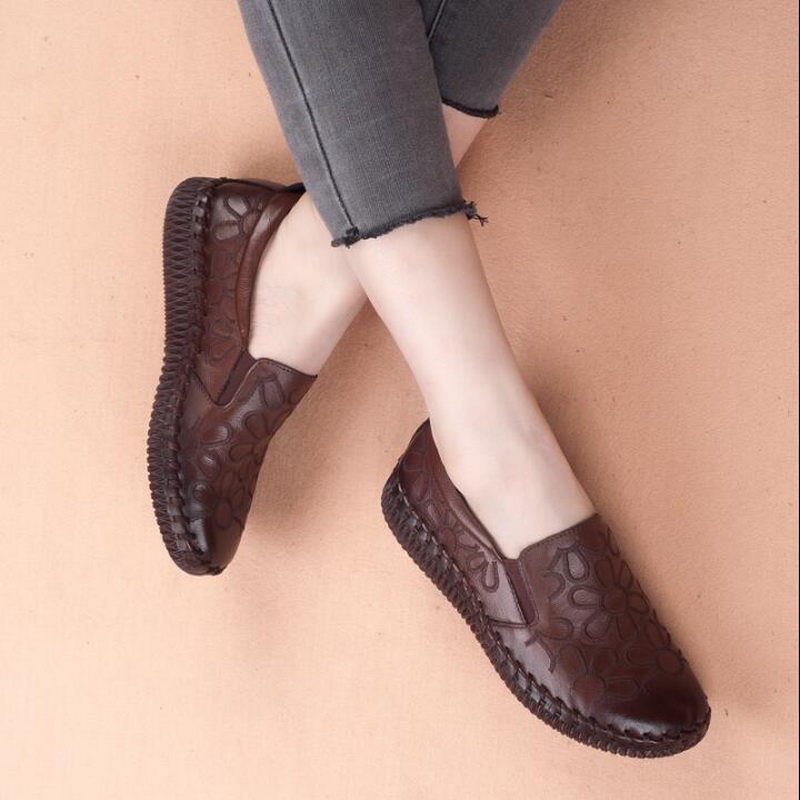 b37f4632c44 Γυναικεία παπούτσια Fashion Genuine Leather Flat Shoes Women Loafers Flats  Ballerina Shoes Woman handmade shoes Pregnant Flats Casual Driving shoes