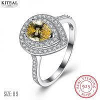 Fashion New Brand Design Luxurio 925 Silver Ring Yellow Zircon Waterdrop Wedding Ring For Women Sterling