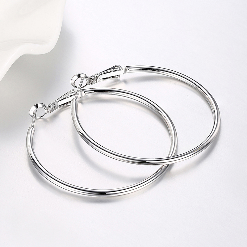 925 Silver Creole Circle Hoop Earrings For Women Christmas Earring Jewelry 1