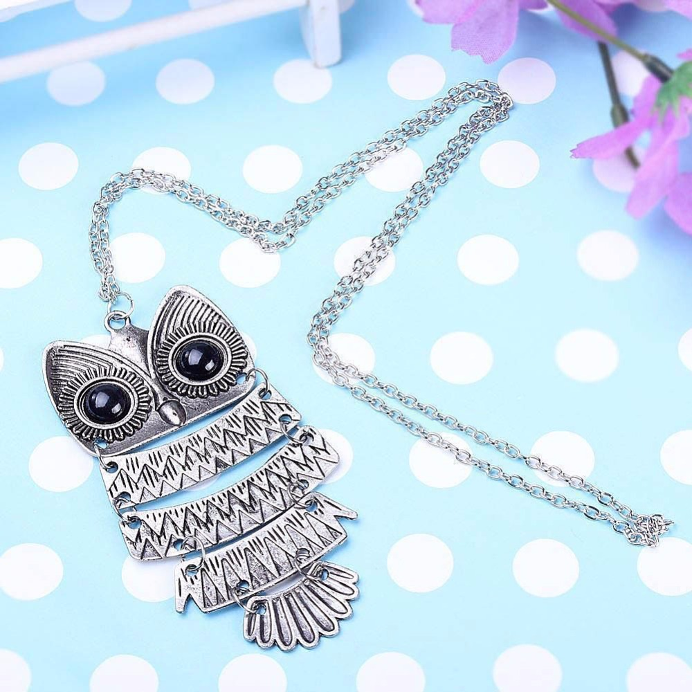 New Lady Women Vintage Silver Owl Pendant Necklace best Gift For XMAS H6636 P50