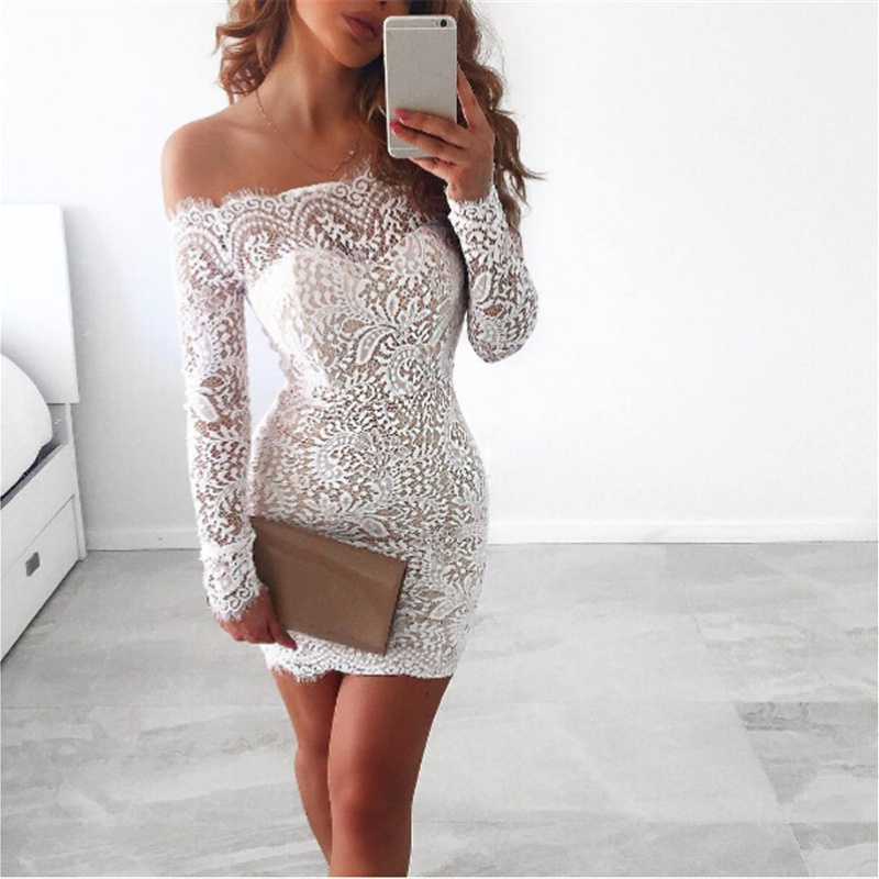 Women Sexy Off Shoulder White Lace Pencil Dress Evening Long Sleeves Slim Party Bodycon Mini Dress Y3