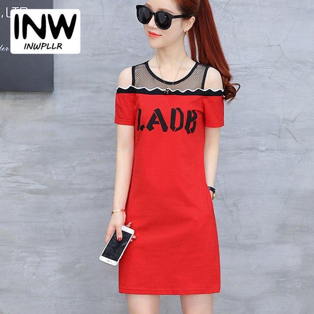 1f0406ab6ca55 Summer T-shirt Dress Women Dresses Letter Print Ladies Dress Ete Short Sleeve  Open Shoulder Dresses Tshirt Vestidos Mujer 2018