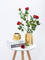 Nordic Gold Cylindrical Flower Vase Ceramic Decoration Home Wedding Party Office Bar Living Room Accessories Luxury Vase Filler