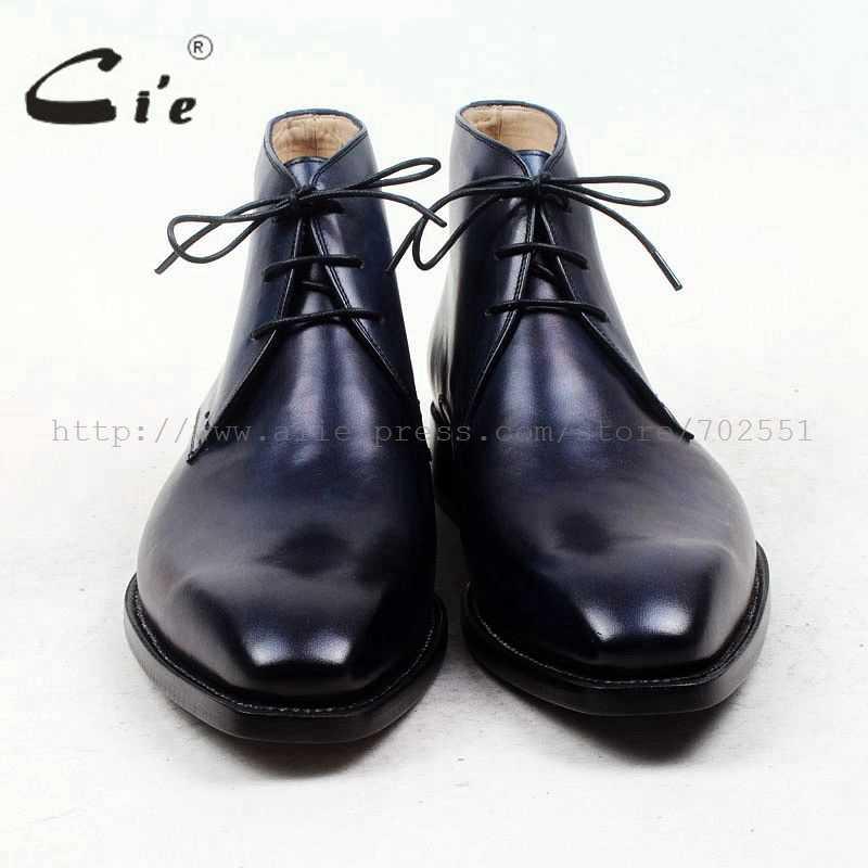 CIE квадратный плотная toe100 % натуральной телячьей кожаные ботинки патиной военно-морской флот ручной работы подошва кожа мужские сапоги мужские деловые Ботинки Ботильоны A96