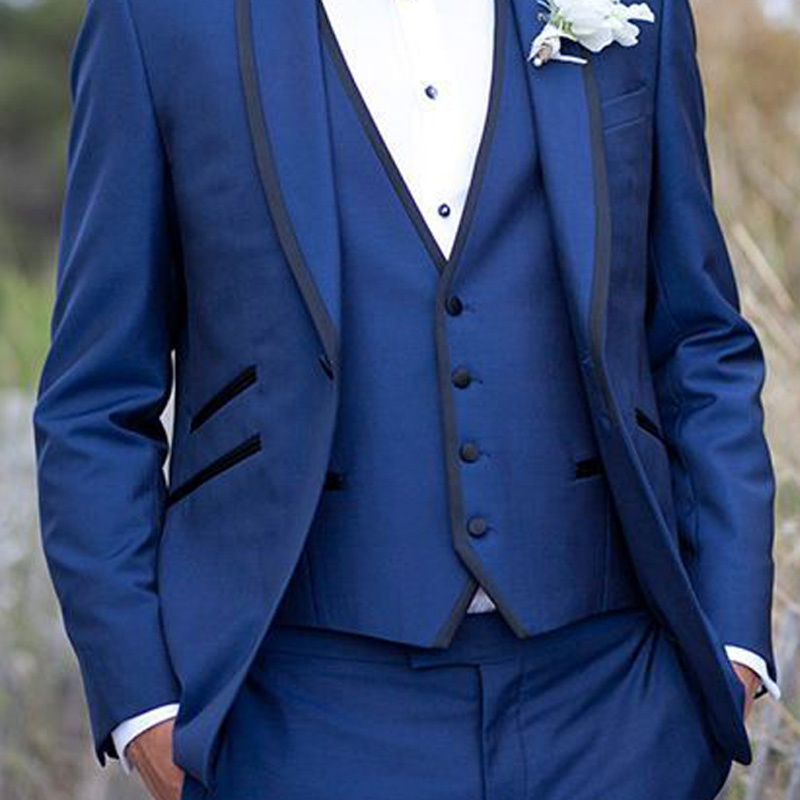 Blue Men Suits for Groom Wear 2018 Black Shawl Lapel Three Piece Wedding Groomsmen Tuxedos Jacket Pants Vest in Suits from Men 39 s Clothing