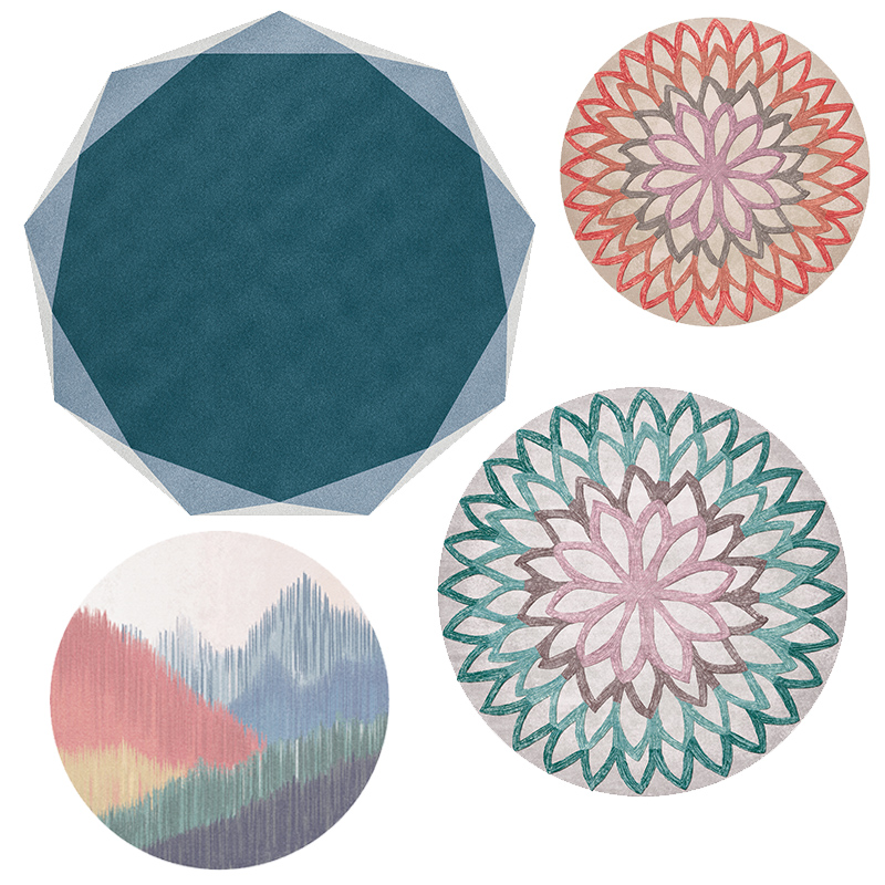 Morocco Geometry Flower Printing Round Carpets and Rug Washable Non slip Rugs for Living Room,Bedroom Multicolor/Blue/Gray