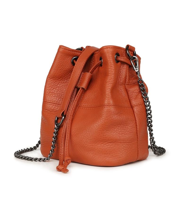 MJ Genuine Leather Women Bag Chain Crossbody Handbag Female Real Cow Leather Bucket Shoulder Bags Small Messenger Bag for Girls (5)
