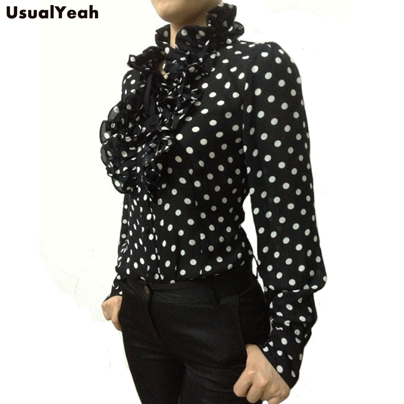 HTB1Icb KVXXXXa6XpXXq6xXFXXXd - New 2017 Hot Fashion Korea Style Vintage Chiffon Polka Dots Women