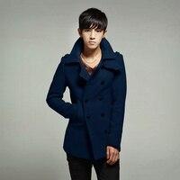 2014 new casual men's winter wool coat Slim double-breasted woolen jacket male medium-long wool windbreaker free shipping H1929