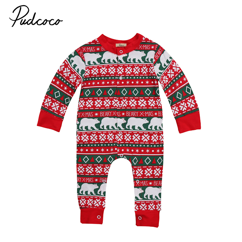 2017 Christmas Newborn Baby Boy Girl Romper Long Sleeve Cotton Jumpsuit One Pieces Playsuit Xmas Clothes 0-24M newborn infant warm baby boy girl clothes cotton long sleeve hooded romper jumpsuit one pieces outfit tracksuit 0 24m