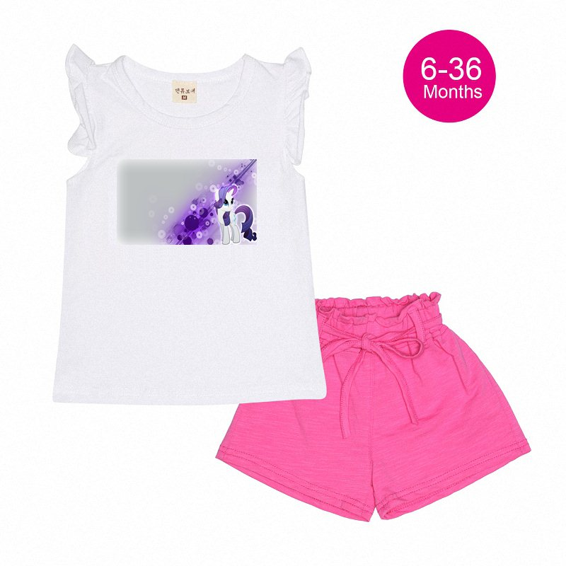 7 36m Wearing Mlp Rarity Baby Designer Girls Baby Clothes Cotton Kids  Short Sleeve Tshirt+Short Pants Clothes Sets