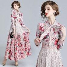 84641751354b3 2018 Fall Runway Retro Letter Floral Print Collar Ribbon Tie Long Sleeve Maxi  Dress