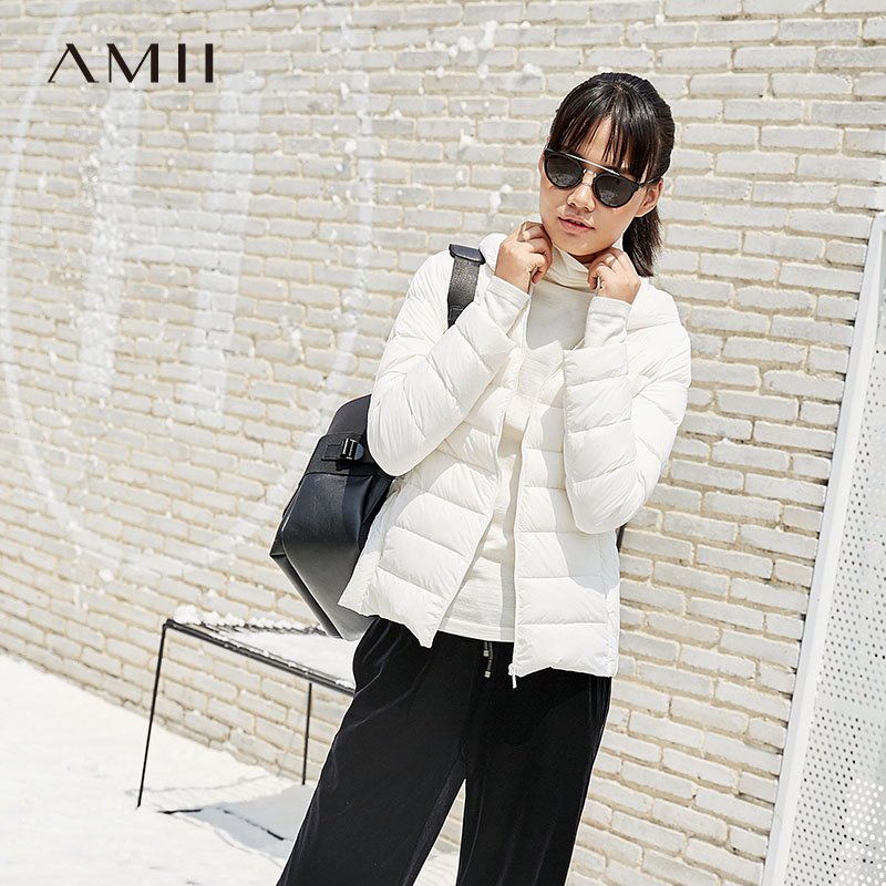 Amii Women 2018 Winter 90% White Duck Down Coat Hoodies Solid Short Female Fashion Light Jacket Coats