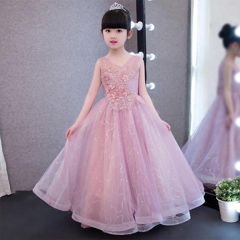 Flower Girl Dresses for Wedding V-neck Long Princess Dress Appliques Ball Gown Holy Communion Dress for Little Girls Birthday K