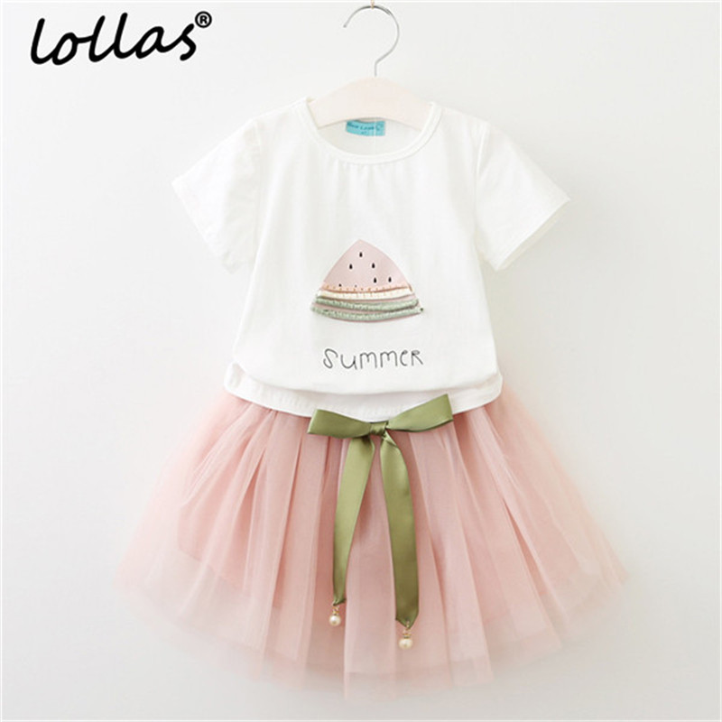 Lollas 2018 Summer New Baby Girls Clothing Sets Fashion Style Fruit Printed T-Shirts+Net Veil Dress 2Pcs Girls Clothes