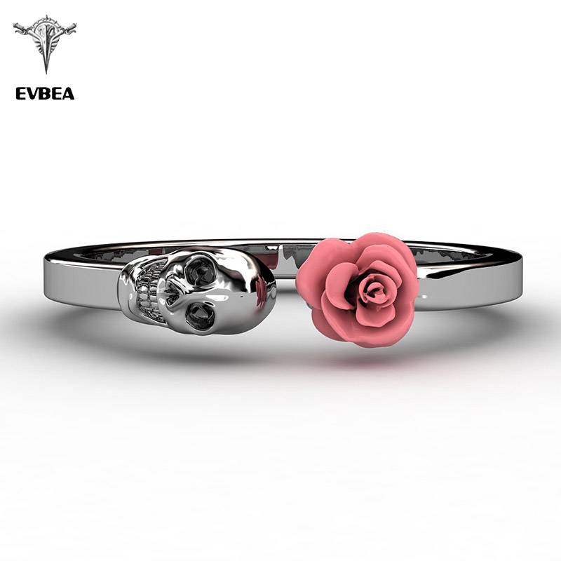 EVBEA Fashion Skull Womens Ring 316L Stainless Steel Punk Rock Rings Charm Female Inlaid Red Rose