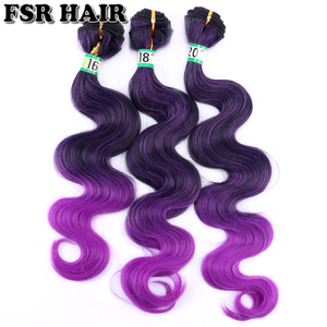 FSR Purple Synthetic Hair weave Ombre color hair bundles Body wave hair Weave 16 18 and 20 Inch 3 bundles/Lot 210g