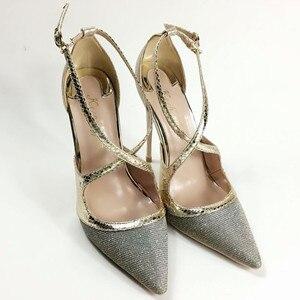 Image 3 - Keshangjia Fashion nuovo arriva pompe delle donne di modo croce fibbia scarpe a punta super high partito delle signore scarpe grandi dimensioni 35 44