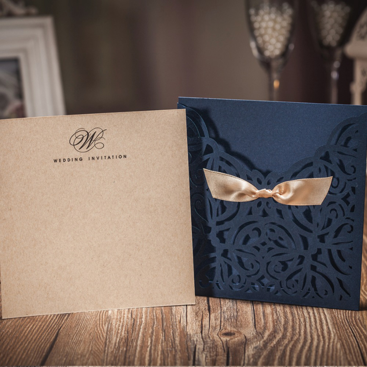 Navy Blue Personalized Printing Wedding Invitations With Envelope And Bow Paper Cardstock For Party Birthday Cards Bride Shower In From