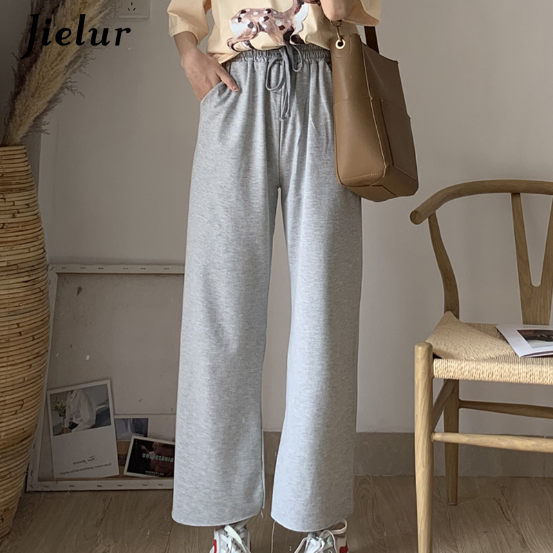 Jielur Solid Color Summer Women   Wide     Leg     Pants   Leisure Loose Pockets Straight Trouser Simple Korean 2019 Preppy Roupas Femininas