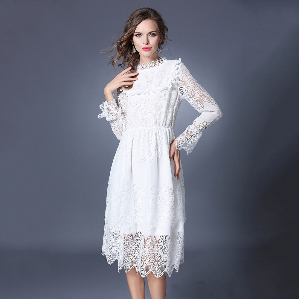White Long Sleeve Dresses Plus Size – DACC