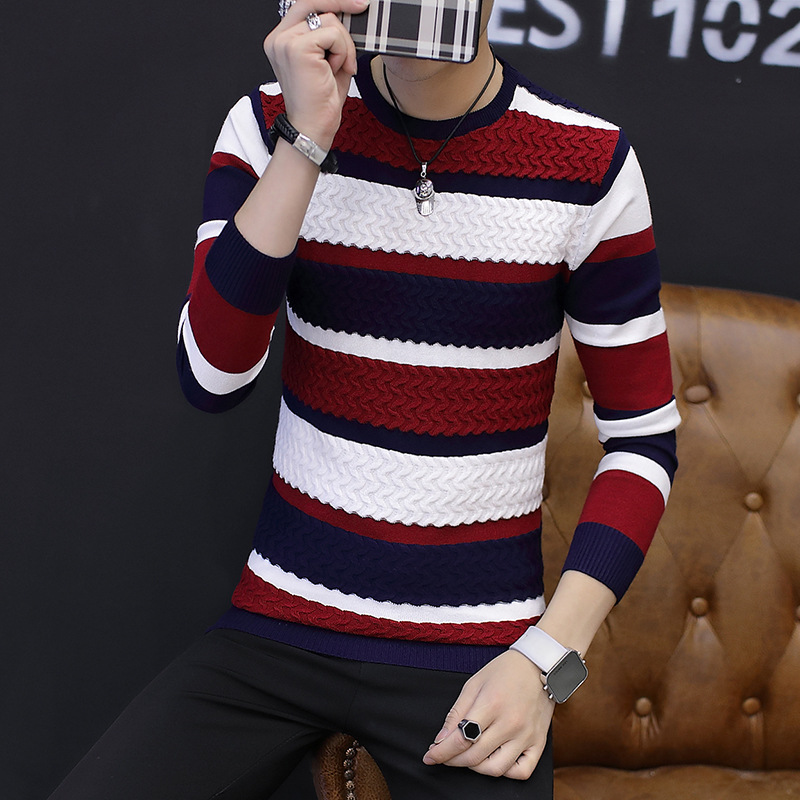 2019 Spring Men's Casual Long-sleeved Sweater , Spring  Autumn Thin Men's V-neck Sweater , Men's Slim Sweaters S-XXL