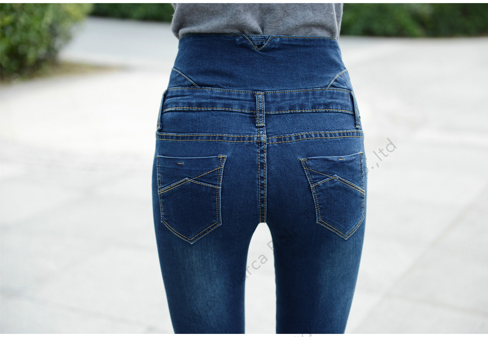 High Waist Elastic Skinny Denim Long Pencil Pants 6